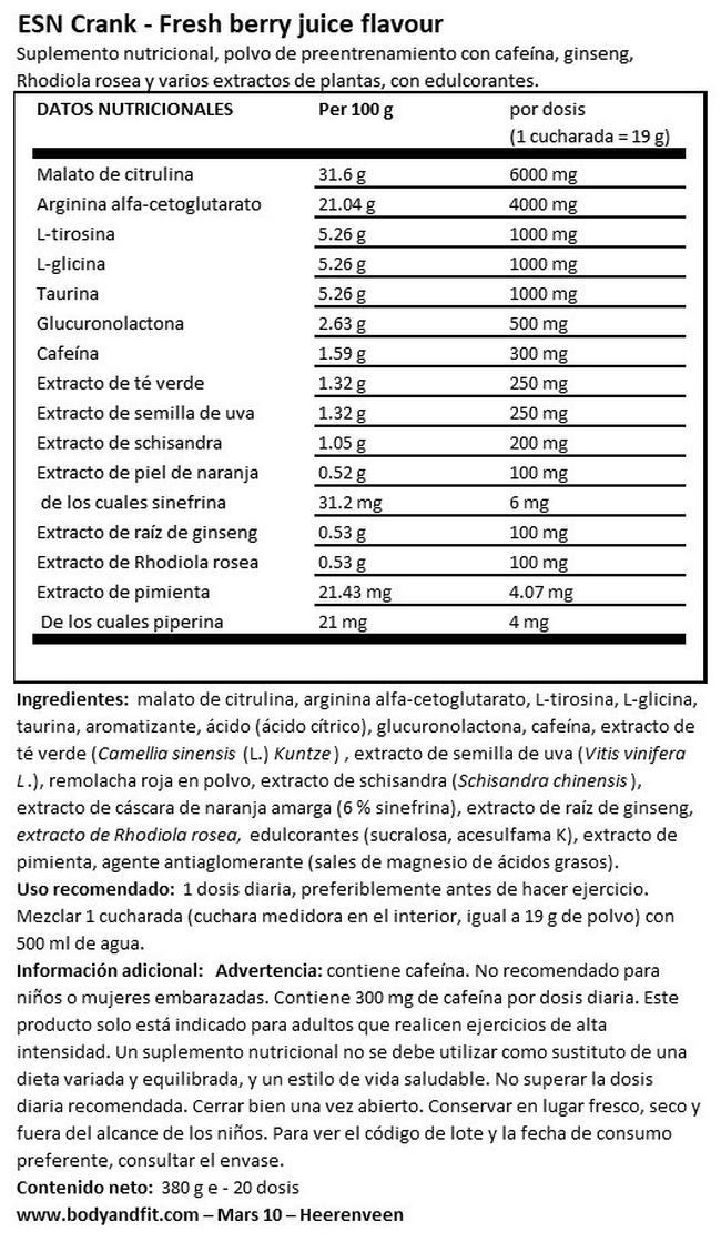 Crank Nutritional Information 1