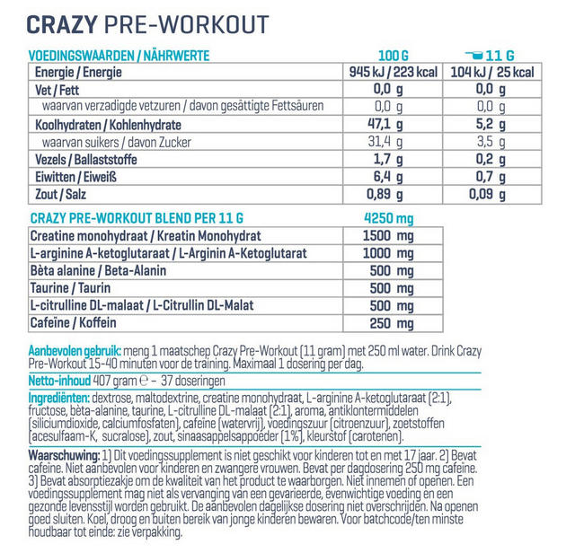 Crazy Pre-Workout Nutritional Information 1