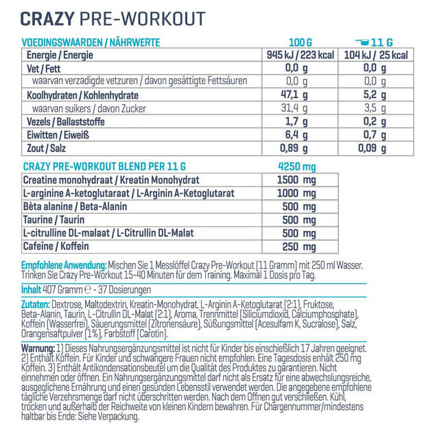 Crazy Pre-Workout Nutritional Information 2