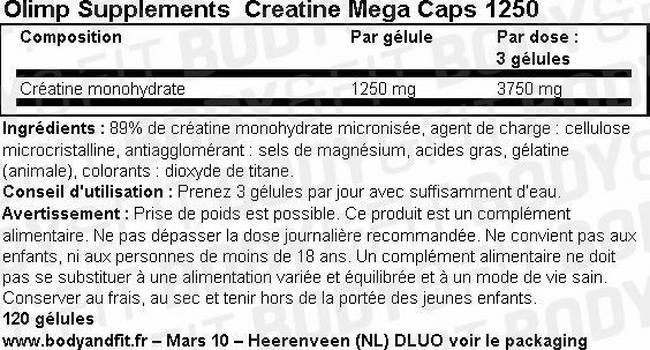 Creatine Mega Caps 1250 Nutritional Information 1