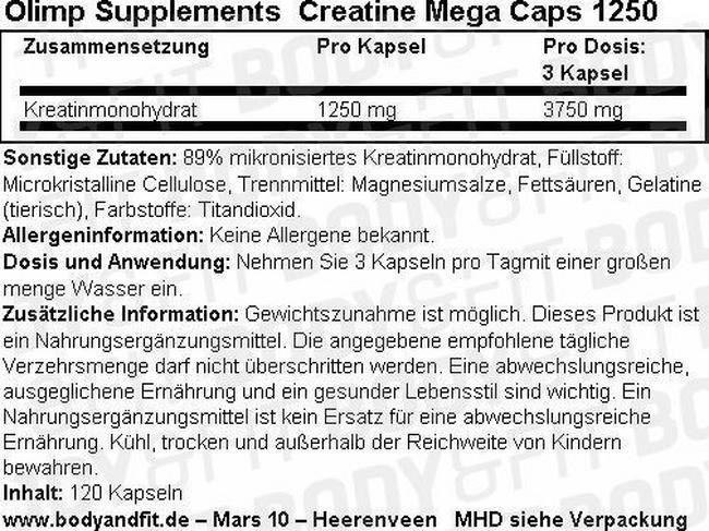 Creatine Mega Caps 1250 Nutritional Information 2