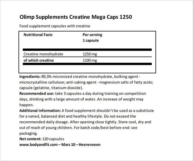 Creatine Mega Caps 1250 Nutritional Information 3