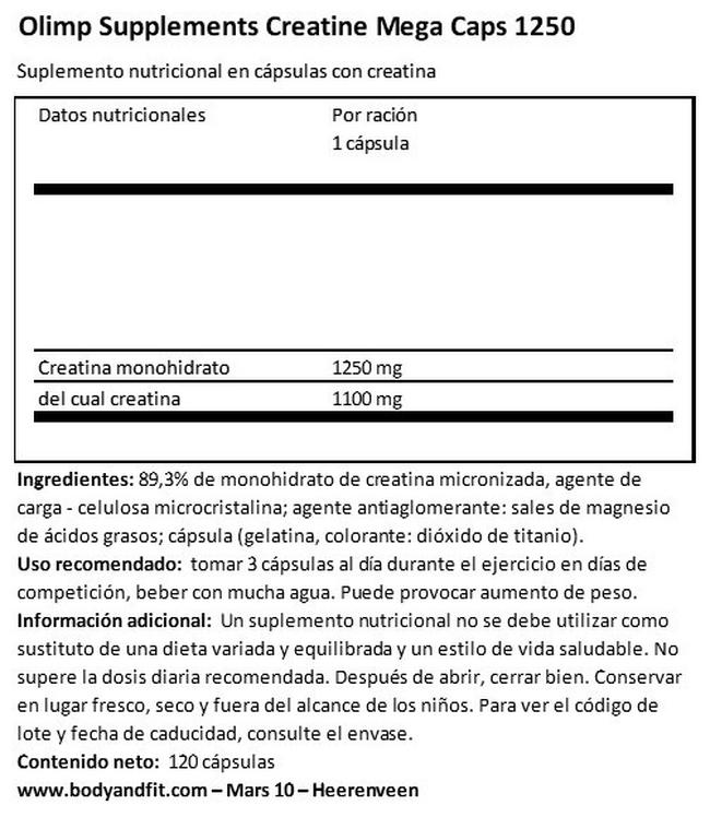 Creatine Mega Caps 1250 Nutritional Information 1