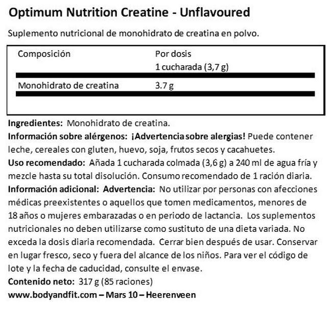 Polvo de creatina micronizada Nutritional Information 1