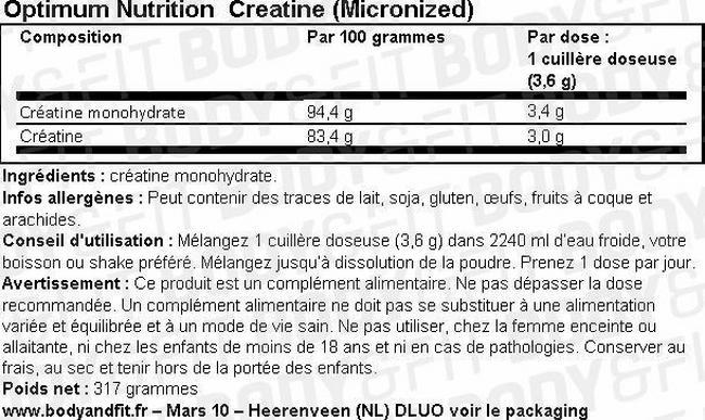 Creatine (Micronized) Nutritional Information 1