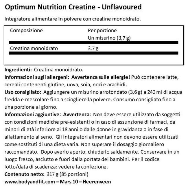 Creatine Micronized Powder Nutritional Information 1