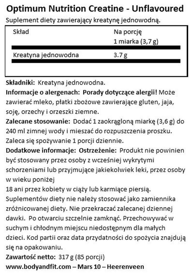 Micronized Creatine Powder Nutritional Information 1