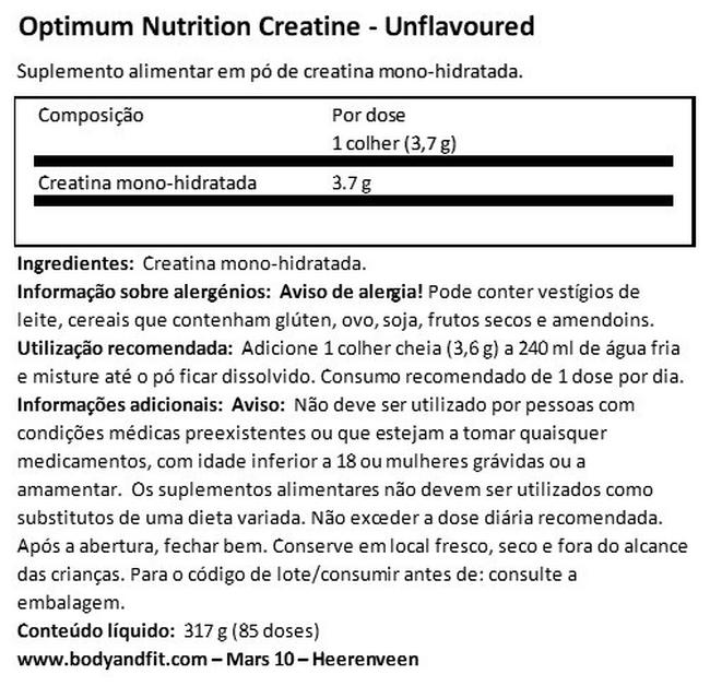 Pó de creatina micronizado Nutritional Information 1