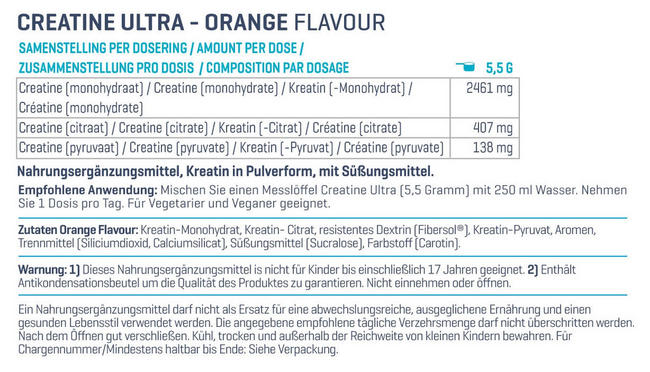 Creatine Ultra Nutritional Information 1