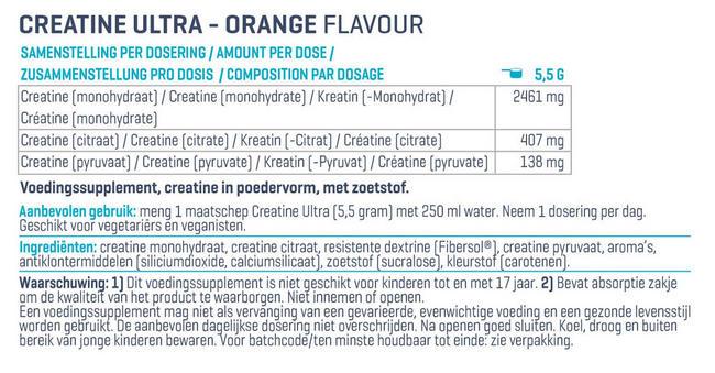 Creatine Ultra Nutritional Information 1