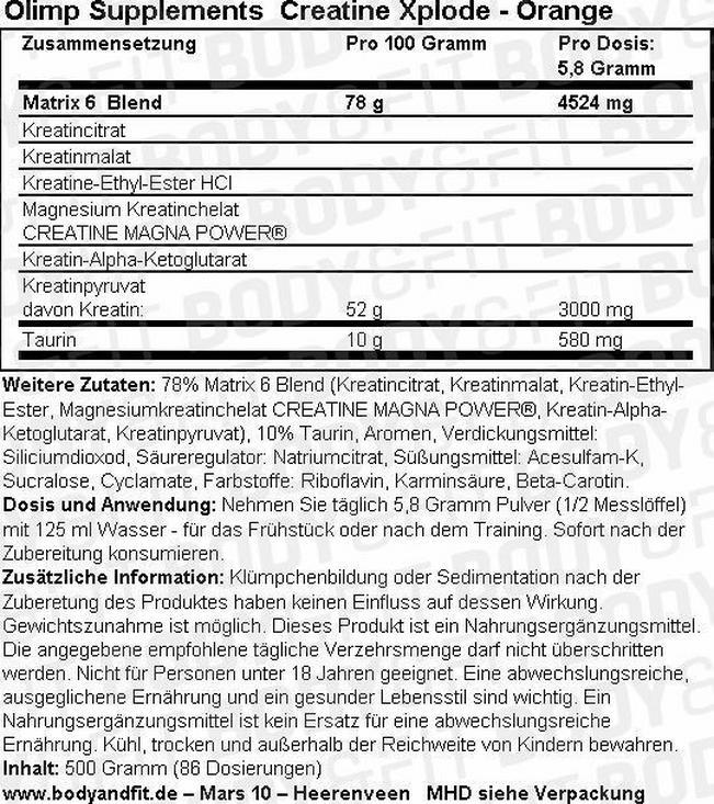 Creatine Xplode Nutritional Information 1