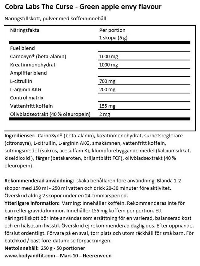 The Curse Nutritional Information 1