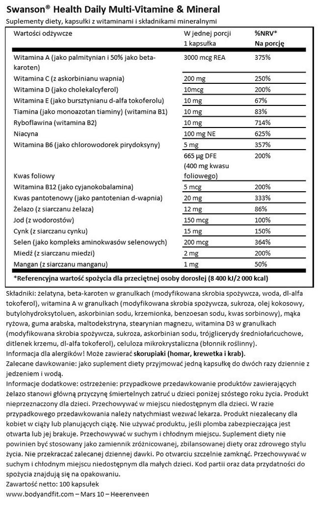 Daily Multi-Vitamin & Mineral Nutritional Information 1
