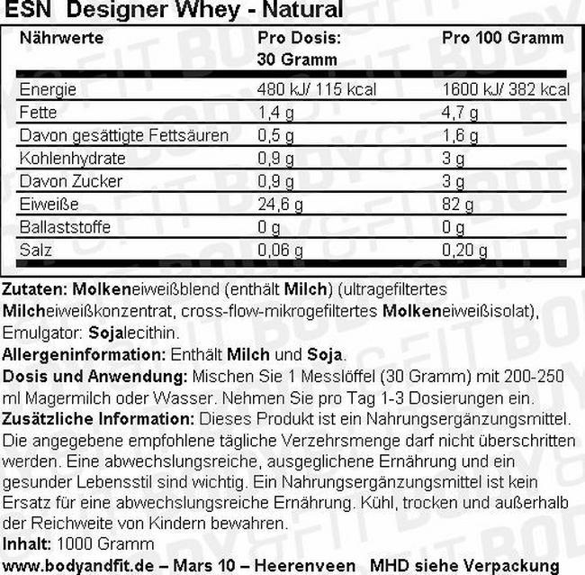 Designer Whey Nutritional Information 2