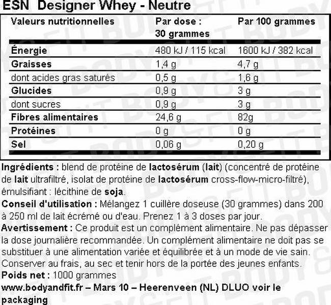 Designer Whey Protein Nutritional Information 1