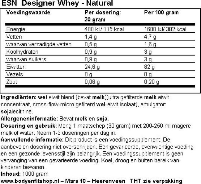 Designer Whey Nutritional Information 1
