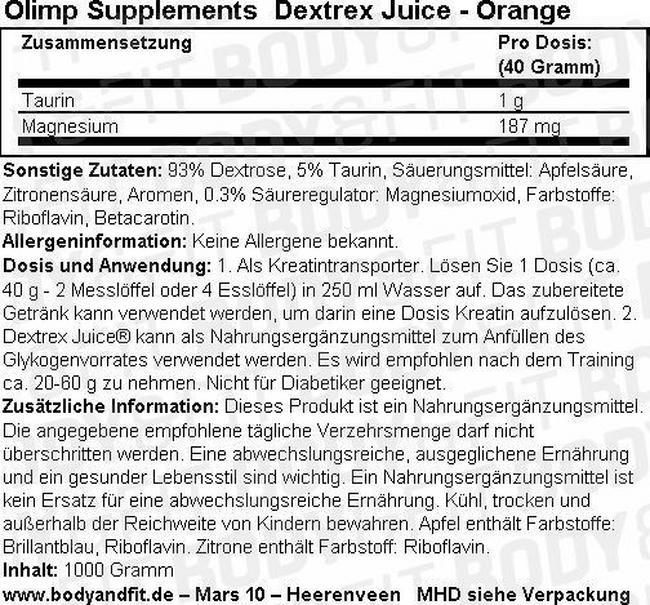 Dextrex Juice Nutritional Information 1