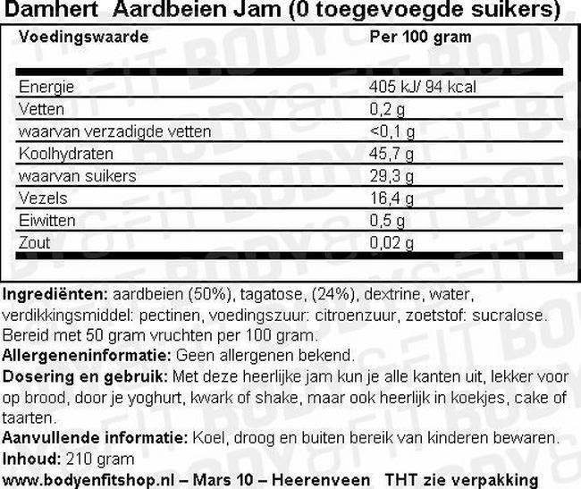 Dieet Jam (0 toegevoegde suikers) Nutritional Information 1