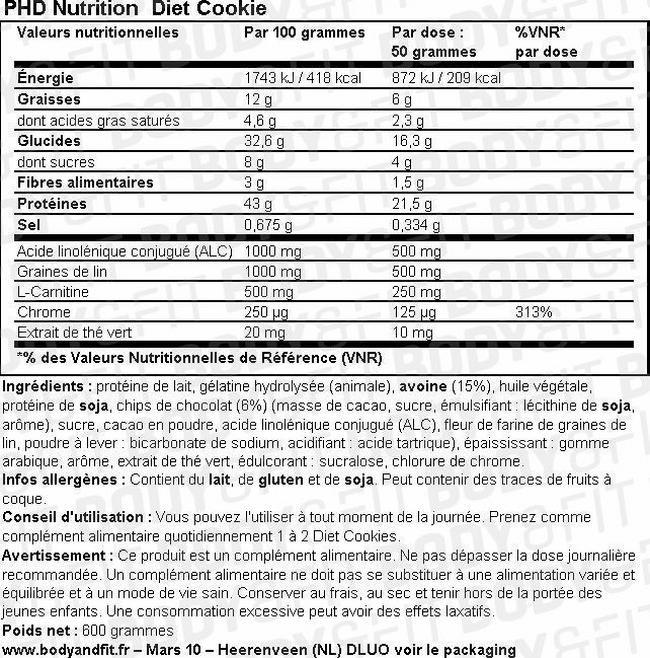 Cookies diététiques Diet Cookie Nutritional Information 1
