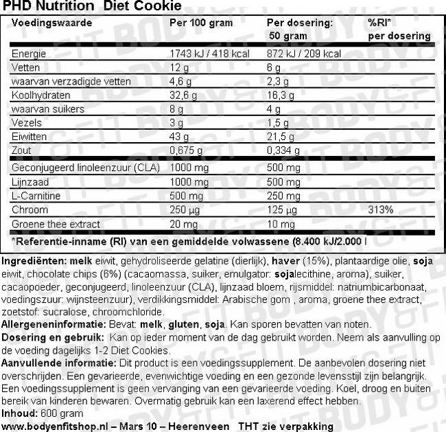 Diet Cookie Nutritional Information 1