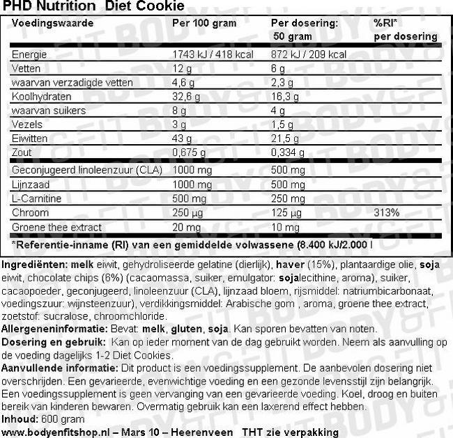 Diet Cookie Nutritional Information 1