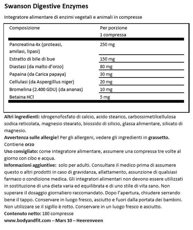 Enzimi digestivi Nutritional Information 1