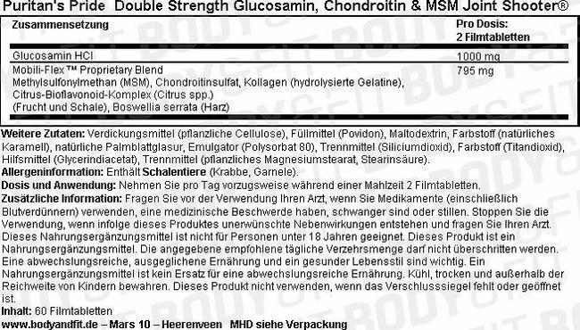 Double Strength Glucosamine, Chondroitin & MSM Joint Soother® Nutritional Information 1