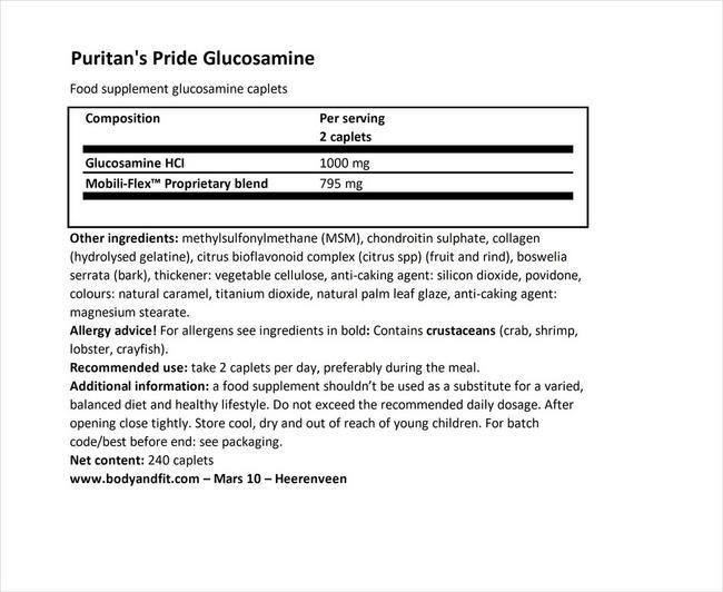 더블 스트렝스 글루코사민, 콘드로이틴 & MSM 조인트 수더® Nutritional Information 1