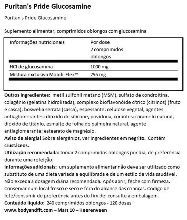 Glucosamina, condroitina e MSM de dupla força Joint Soother® Nutritional Information 1