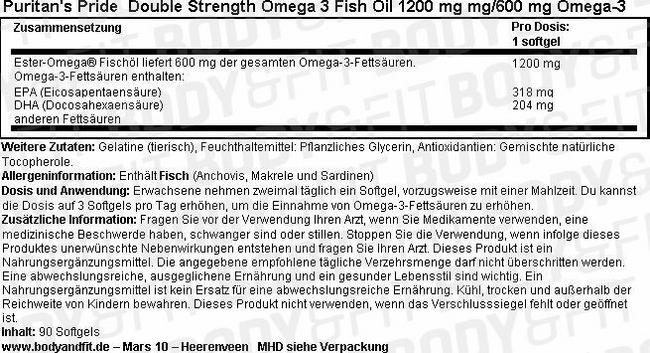 Double Strength Omega-3 Fish Oil 1200 mg Nutritional Information 1