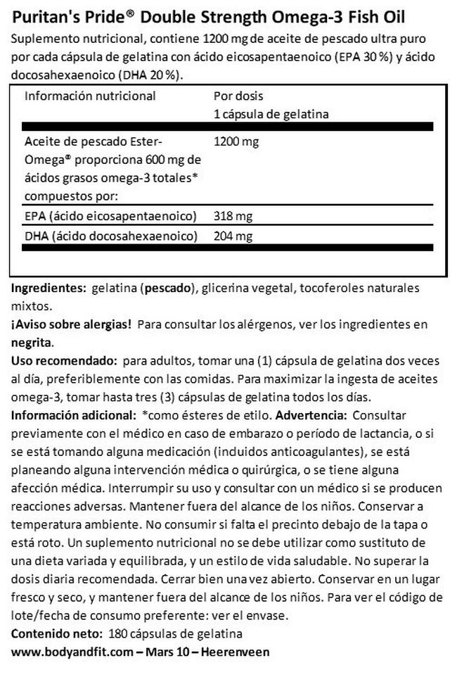 Double Strength Omega-3 Fish Oil Nutritional Information 1
