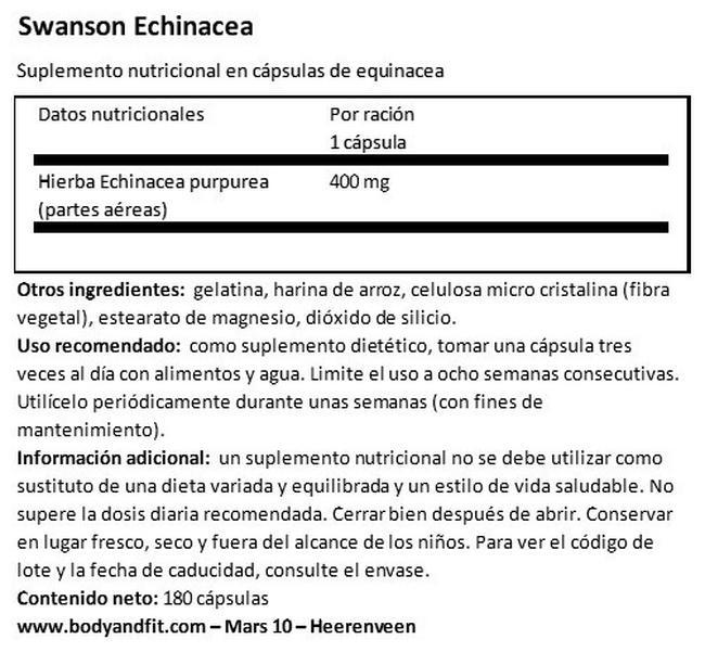 Echinacea 400 mg Nutritional Information 1