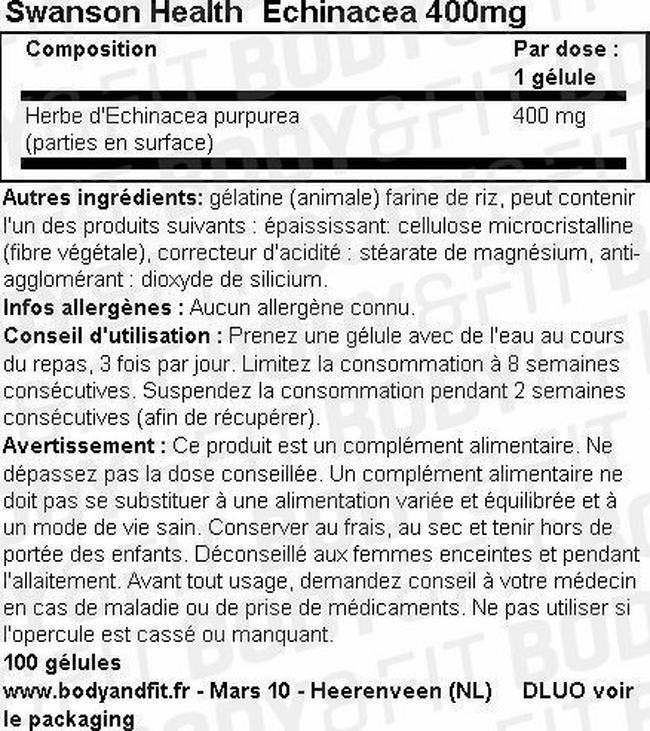 Echinacea 400mg Nutritional Information 1