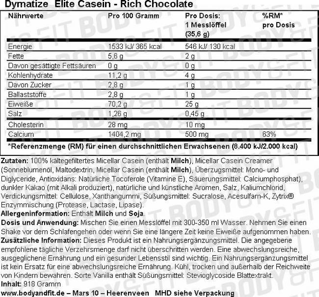Dymatize Casein Nutritional Information 1