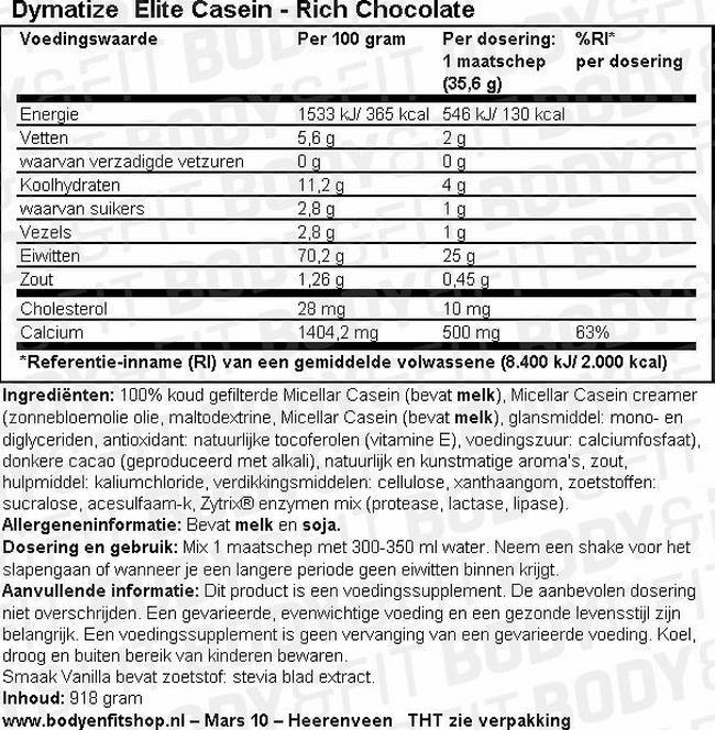Elite Casein Nutritional Information 1