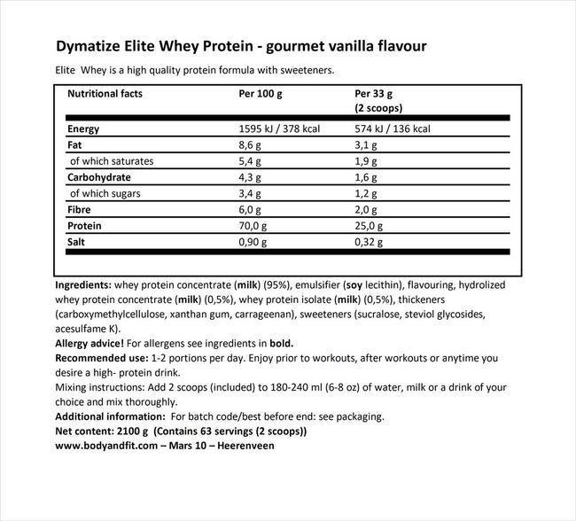 Elite 100% Whey Nutritional Information 1