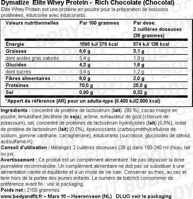 Elite Whey Protein Nutritional Information 1