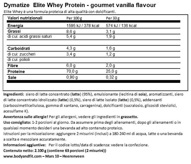 Elite 100% Whey Nutritional Information 1