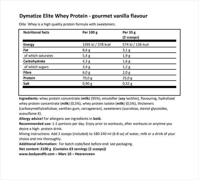 엘리트 100% 웨이 Nutritional Information 1