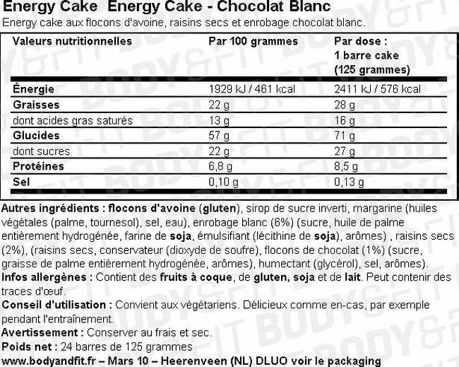 Energy Cake Nutritional Information 1