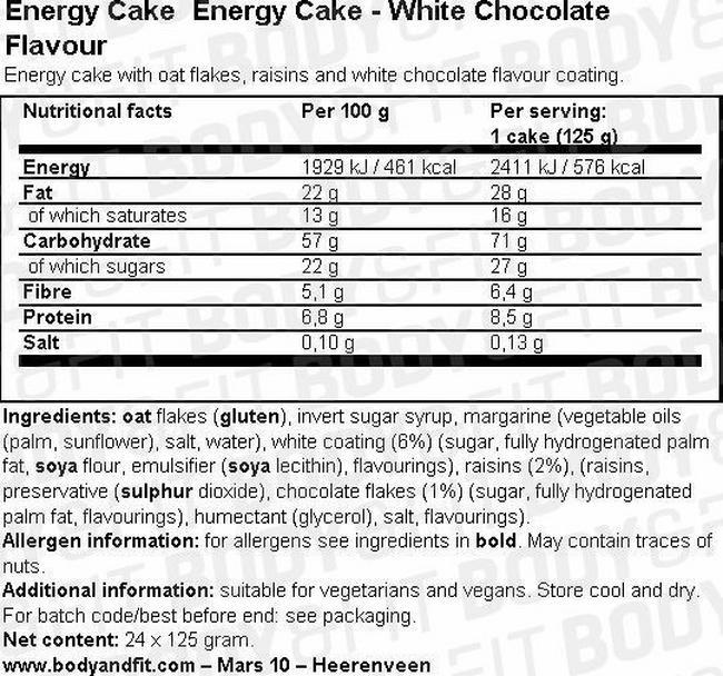 에너지 케이크 Nutritional Information 1