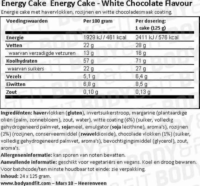 Energy Cake Nutritional Information 1