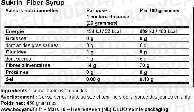 Sirop aux fibres Fiber Syrup Nutritional Information 1