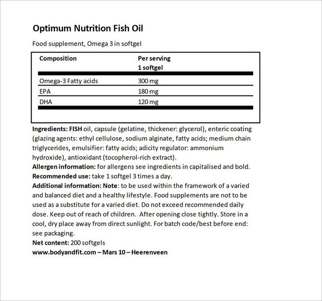 Fish Oil Nutritional Information 4