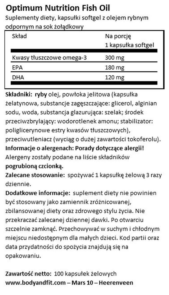 Olej rybny z powłoką chroniącą podczas procesu trawienia Nutritional Information 1