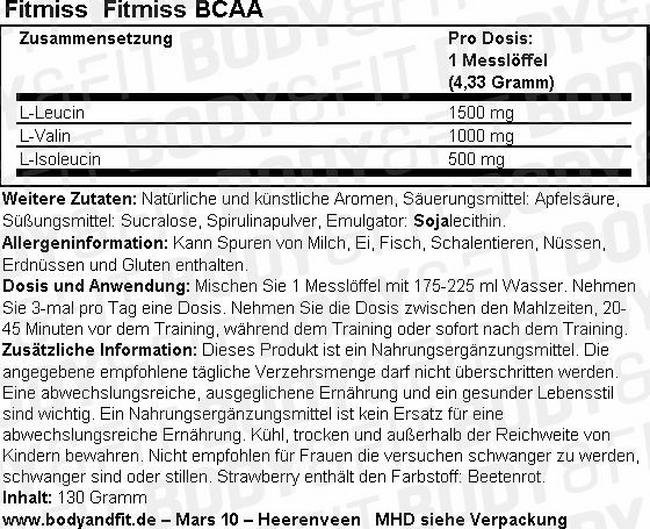 Fitmiss BCAA Nutritional Information 1
