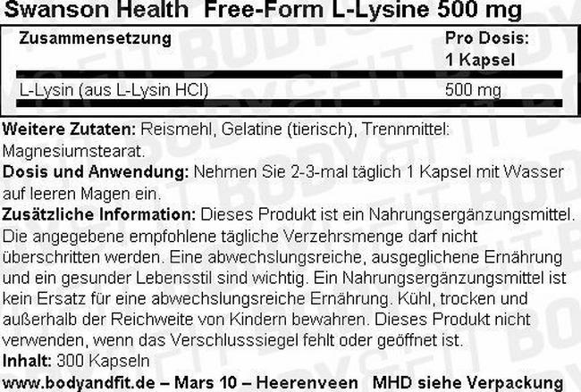 Free-Form L-Lysin 500 mg Nutritional Information 1
