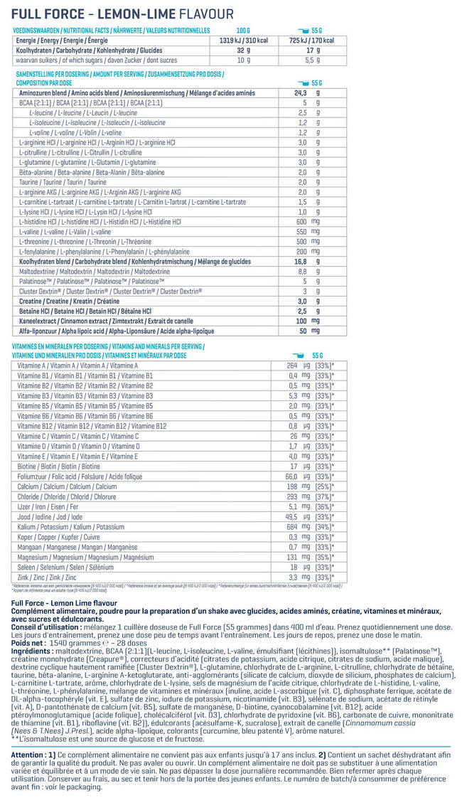 Full Force Nutritional Information 1
