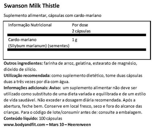 Full Spectrum Milk Thistle 500mg Nutritional Information 1