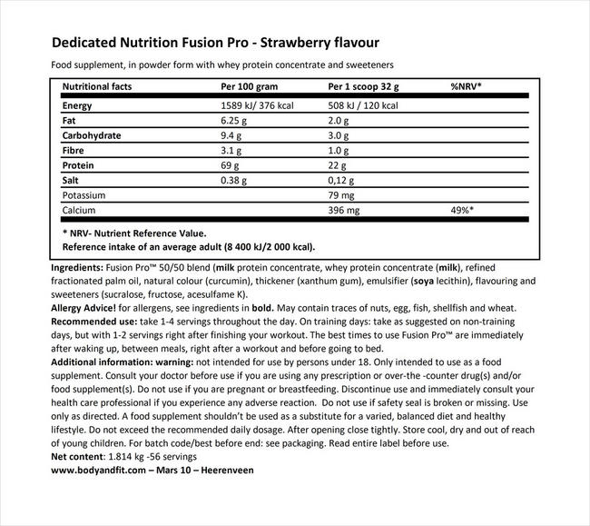 Fusion Pro Nutritional Information 1